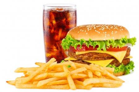 Photo pour Double cheesesburger avec frites et cola . - image libre de droit