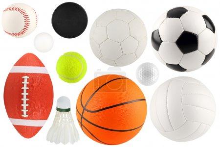 Photo pour Un ensemble de matériel de sport différent et boules - image libre de droit