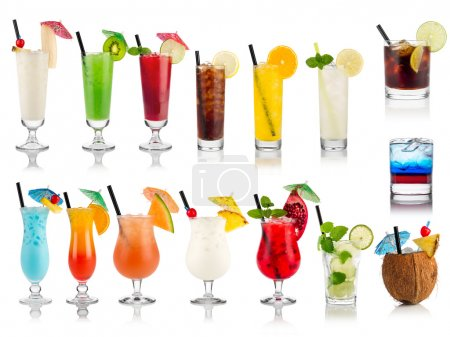 Photo for Set of cocktails soft and longdrinks ind front of white background - Royalty Free Image