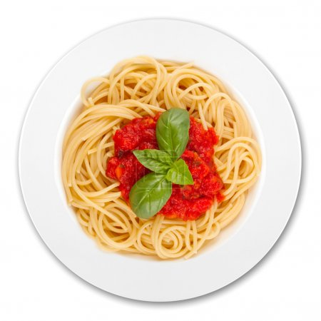 Photo for Plate with spaghetti, sauce and basil on white background - Royalty Free Image