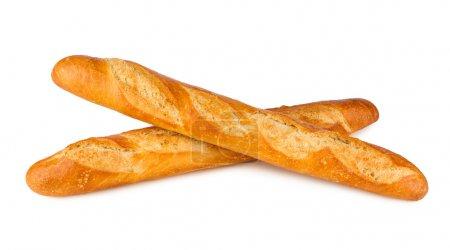 Photo pour 2 baguettes françaises sur fond blanc - image libre de droit