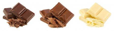 Photo pour Ensemble de 3 chocolats différents sur fond blanc - image libre de droit