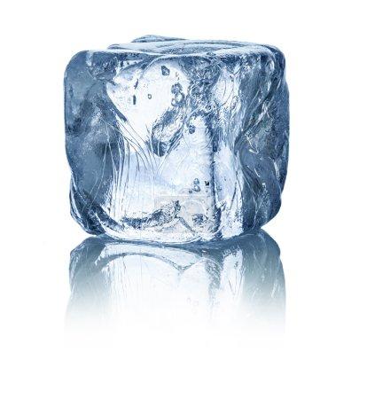Photo pour Cube de glace en face de fond blanc - image libre de droit
