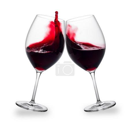 Photo pour Deux verres de vin rouge avec des touches - image libre de droit