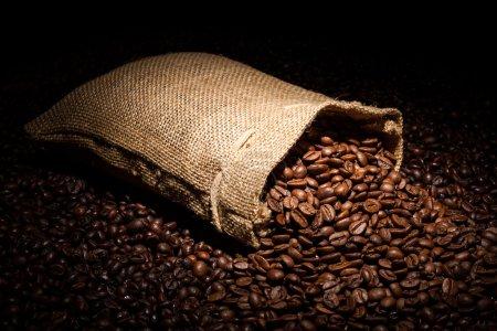 Photo pour Un sac de café renversé en vedette - image libre de droit