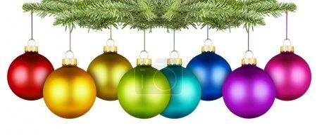 Photo pour Rangée de boules de Noël de colorfull sur une branche de sapin - image libre de droit