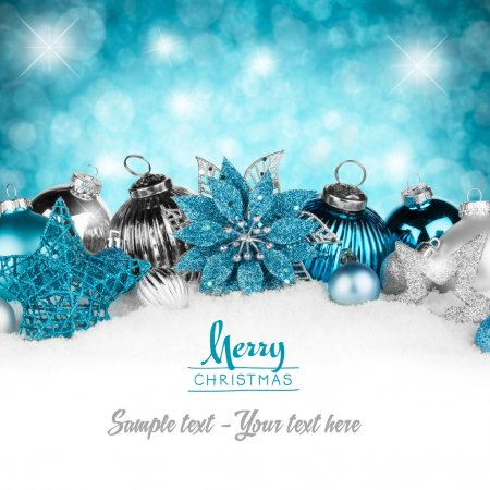 Photo for Silver and petrol christmas greeting card - Royalty Free Image