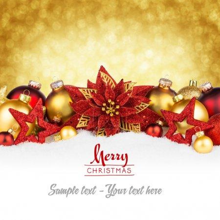 Photo pour Rouge or carte de voeux de Noël - image libre de droit