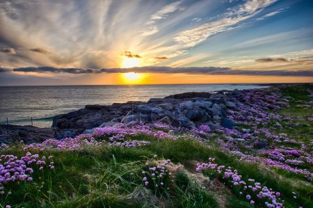 Photo for A beautiful sunset at Tangasdale Beach - Outer Hebrides - Royalty Free Image