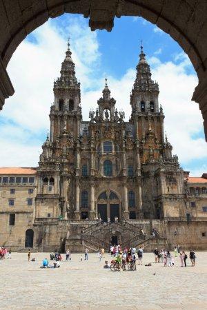 Photo pour Une vue de la cathédrale de Saint Jacques de Compostelle - image libre de droit
