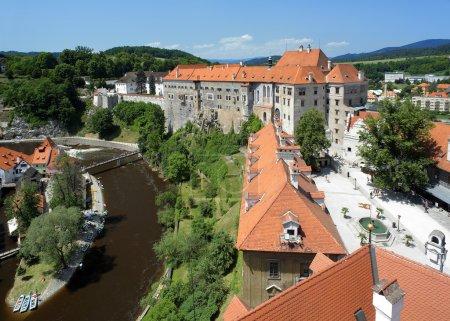 View on Cesky Krumlov Castle and Vltava river
