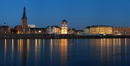 Evening view of Dusseldorf Old Town from the Rhine river