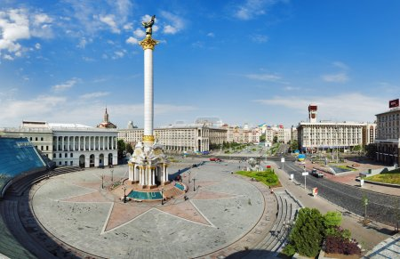 Independence Square with monument to Berehynia in Kyiv