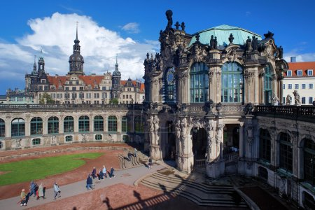 Fragment of the Zwinger Palace and Dresden Castle, Germany