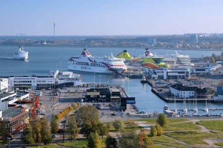 View of the Tallinn port and ferry boats