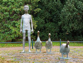Boy with Gooses - Sculpture in Malmo