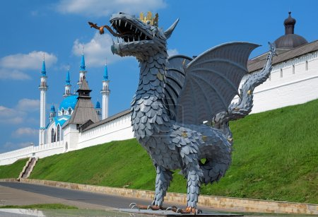 Metal sculpture of Zilant, official symbol of Kazan, Russia