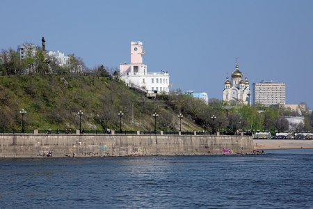 View from Amur River on Khabarovsk, Far East, Russia