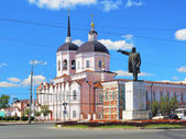 Epiphany Cathedral and a statue of Lenin in Tomsk, Russia