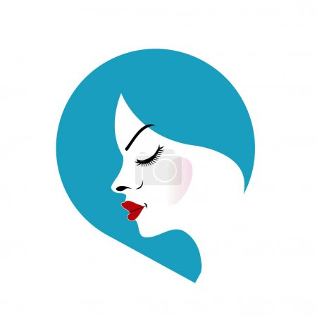 A lady's face in a blue placement- beauty logo