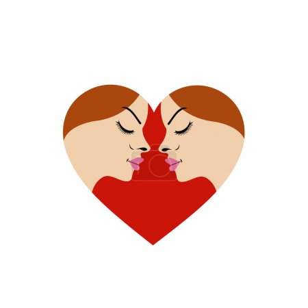 Illustration for Logo for fertility clinic- faces in red heart showing fertility - Royalty Free Image