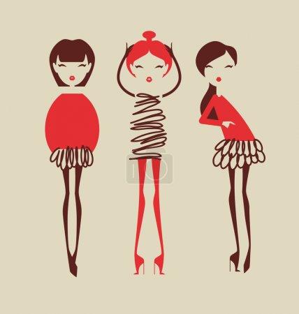 Illustration pour Filles de mode posant isolé sur fond clair illustration vectorielle - image libre de droit