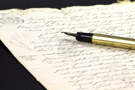 Old hand written document with fountain pen...