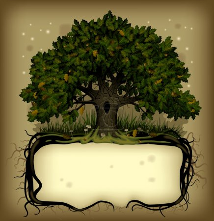 Illustration for Vector old-fashioned banner with fairy-tale rooted oak tree - Royalty Free Image