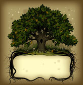 Oak tree wih a banner
