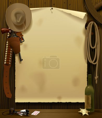 Illustration for Vector illustration with a Wild West Relay Poster in the environment of cowboy accessories on the wood wall background - Royalty Free Image