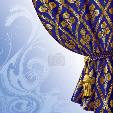 Illustration for Vector image of a blue drape with gold vintage ornament against the abstract background - Royalty Free Image