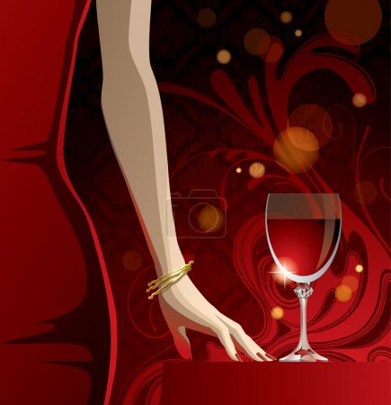 Vector glass of red wine and woman's hand with gol...