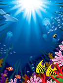 Vector illustration with underwater world of the tropical sea coral reefs colored fishes and bright beams of sunlight penetrate and shine through the water's surface