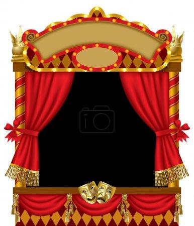 Illustration pour Image vectorielle de la marionnette lumineuse show stand avec des masques de théâtre, le rideau rouge et panneaux de signalisation - image libre de droit