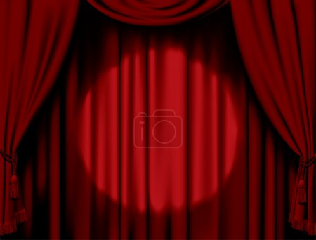 Illuminated red curtain