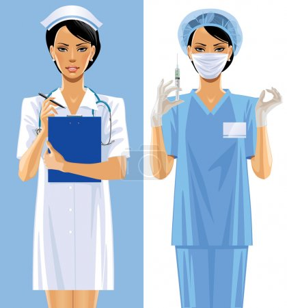 Illustration for Vector image of two nurses in a medical uniform - Royalty Free Image