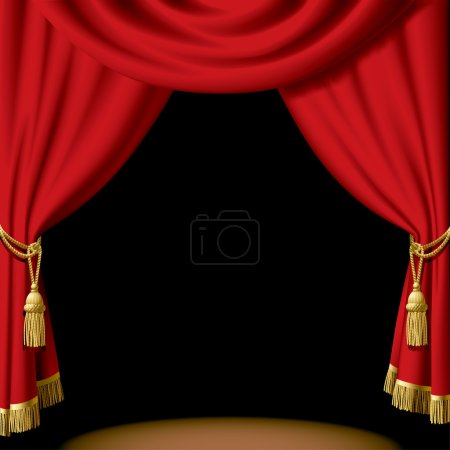Illustration for Vector red curtain on black - Royalty Free Image
