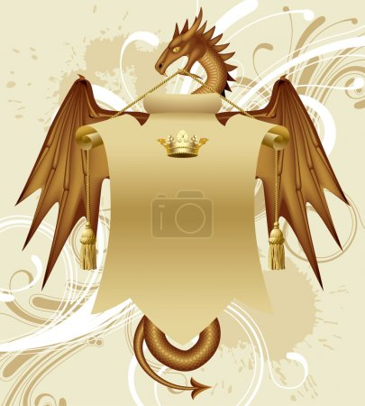 Illustration for Vector dragon with a banner - Royalty Free Image