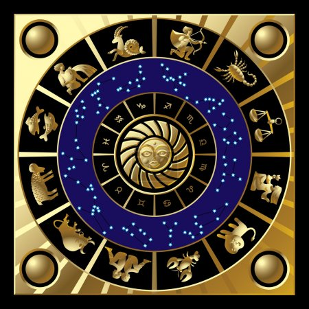 Illustration for Vector gold circle with the signs and the constellations of the zodiac - Royalty Free Image