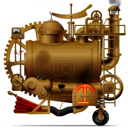 Illustration for Vector isolated image of the complex fantastic machine with steam boiler, gears, levers, pipes, meters, furnace and flue - Royalty Free Image