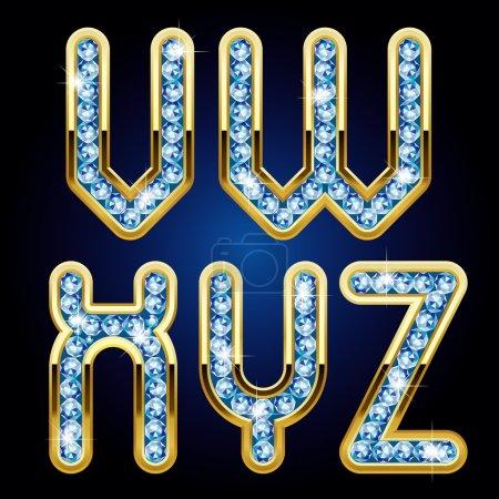 Illustration pour Image vectorielle de lettres majuscules de l'alphabet or et diamant - image libre de droit