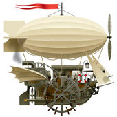 Vector isolated image of the complex fantastic flying ship with machinery dirigible sail wings water-wheel spyglass and other equipment