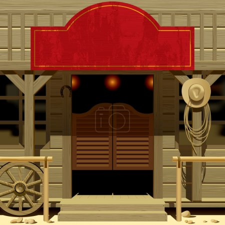 Illustration for Vector iimage of the door of the Saloon in Wild West with a red signboard - Royalty Free Image
