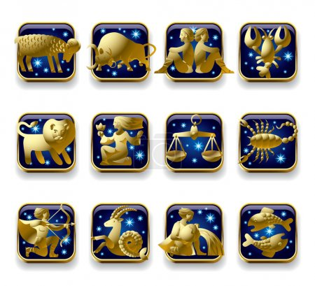 Illustration for Vector set of dark blue icons with gold zodiacal signs with figure, symbols and stars against a white background - Royalty Free Image
