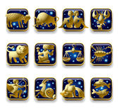 Vector set of dark blue icons with gold zodiacal signs with figure symbols and stars against a white background