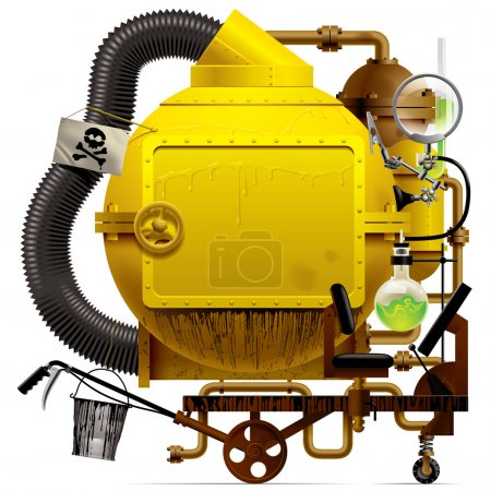 Illustration for Vector isolated image of the complex fantastic machine with yellow round boiler, crimped pipe, chemical flask, sign, bucket, lens, equipment and armament - Royalty Free Image
