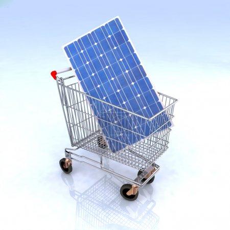 Foto de Carro de compras con el panel solar, dentro de las energías renovables comercio concepto - Imagen libre de derechos