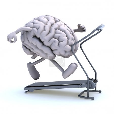 Photo for Human brain with arms and legs on a running machine, 3d illustration - Royalty Free Image