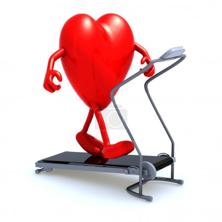 Photo for Heart with arms and legs on a running machine, 3d illustration - Royalty Free Image