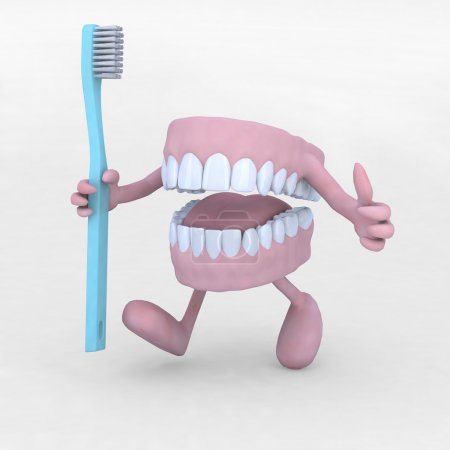 Photo for Open denture cartoon with arms, legs and tootbrush, 3d illustration - Royalty Free Image